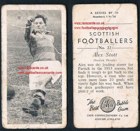 1954 Chix Famous Scottish Footballers 22 Alex Stott Partick Thistle